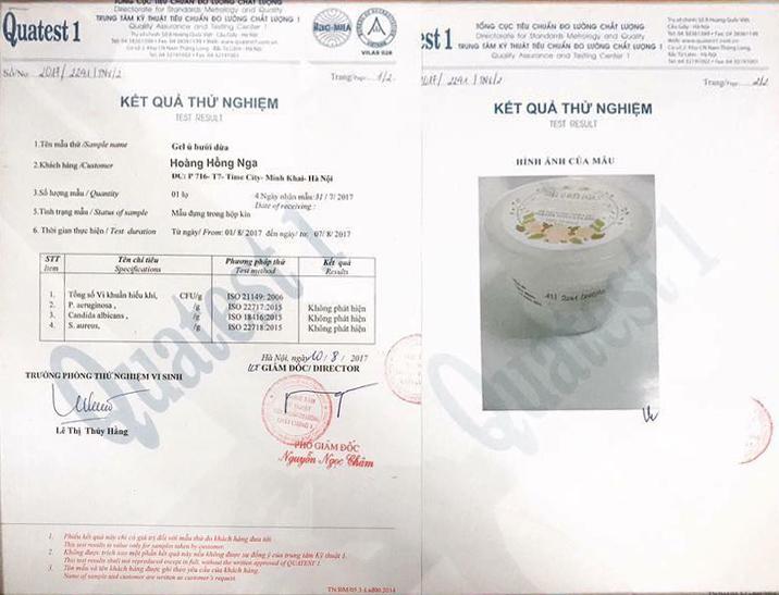 Kết quả thử nghiệm gel ủ bưởi dừa